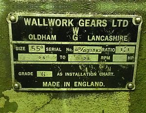 Wallwork Gearbox Rating Plate 1